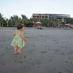 Layla running along her beach. She owned this stretch, looking back to resort.