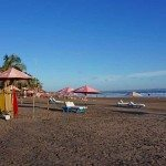 These lounges are for hire on Seminyak Beach