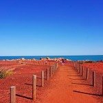The striking red against the Indian Ocean, Gantheaume Point