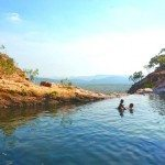The best thing to do with kids in Kakadu - swim at the top of Gunlom Falls