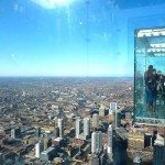 Sky deck juts out of the Willis Tower