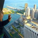 Liam checking out the view from 97 floors up.