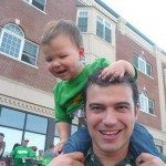 St Patrick's day on dad's shoulders
