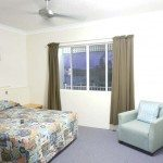 Double bed in main room with a smaller flat screen TV. Superior apartment.