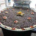 Giant Black Forest dessert, poolside German feast