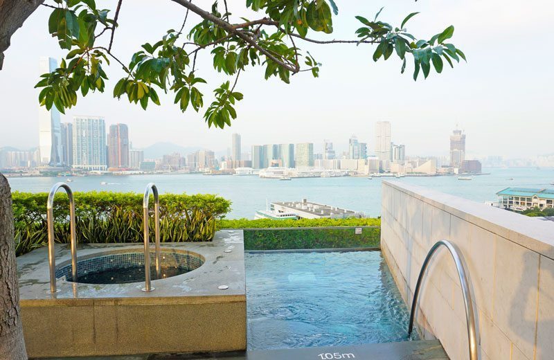 Frigid plunge pool and lap pool. Four Seasons Hotel Hong Kong.