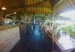 Laidback indoor restaurant seating.