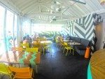 Vibrant restaurant with comfortable seating. Sea Circus Bali.