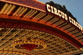 Las Vegas with kids. Circus Circus casino hotel lights.