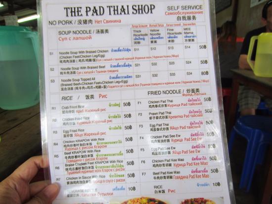 Menu at The Pad Thai Shop - image courtesy TripAdvisor