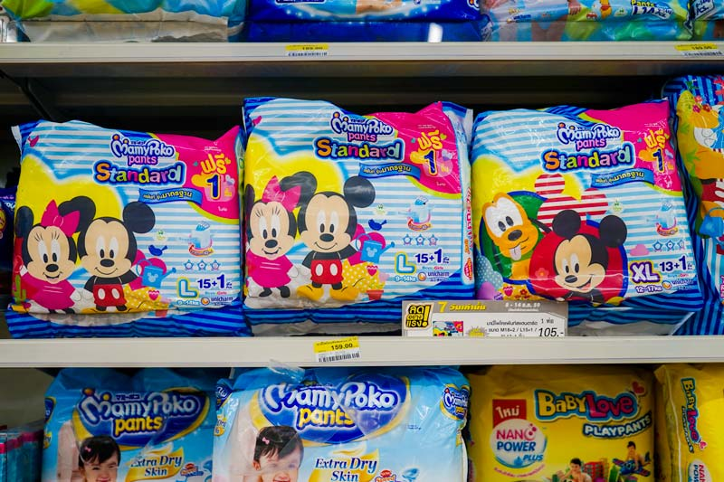 Mamma Poko Mickey Themed Nappies for kids at 7-Eleven, Phuket, Karon. Mini Mart