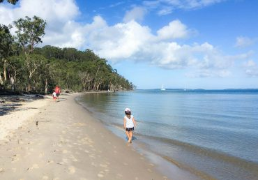 Kingfisher Bay Resort beach at high tide in the morning. Kids walking along beach. Family Friendly.