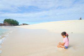 She found a Catseye shell on Monurki Island - ensue daydreams of being a Island Princess